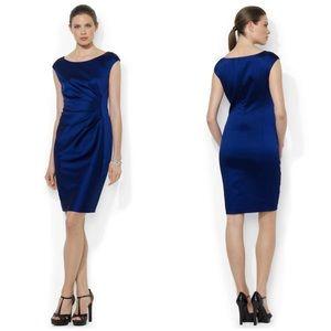 Ralph Lauren • satin sheath dress in cobalt blue